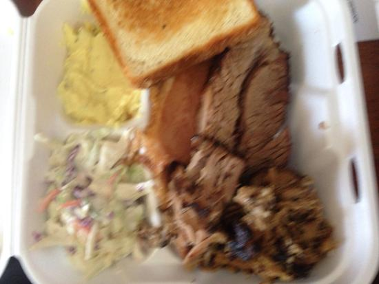 Spicy Mike's: 3 meat plate brisket, ham, and pulled pork yum!!!!