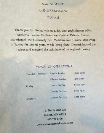 The Main Street Mediterranean Cuisine: Hours of operation