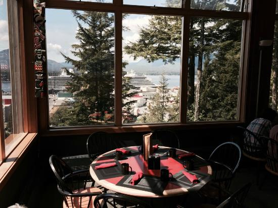 Cape Fox Lodge: view from our table