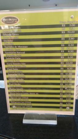 Pe De Moleque: Tabela preços