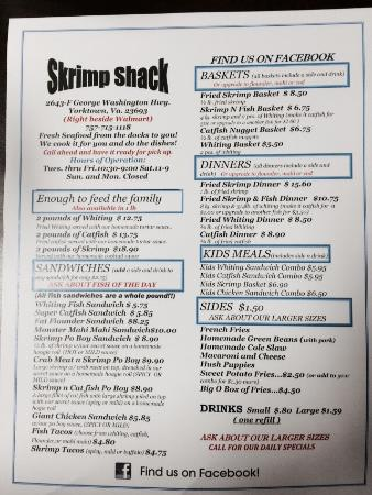 Newport News, Wirginia: Haddock basket with Mac & cheese and hush puppies, and the menu