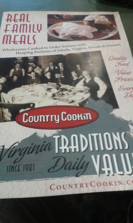 Country Cookin': menu