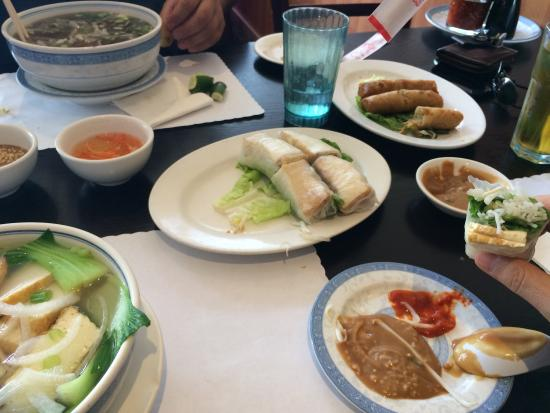 Pho Vi Hoa Restaurant: Assorted, delicious vegetarian spring rolls and pho.
