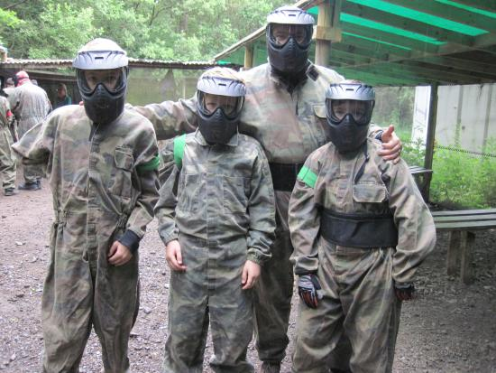 Desborough, UK: Safe fun in the woods with Unique Pursuits Paintballing (20/Jun/15).