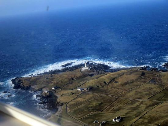South Lighthouse B&B from the plane heading back to Shetland ...