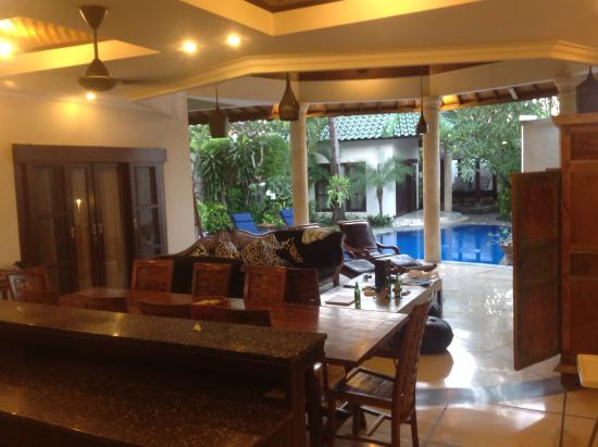 Bali Jade Villas: From kitchen looking over living area and pool.