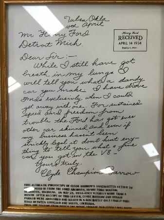 Swope's Cars of Yesteryear Museum: Letter from Clyde Barrow (Bonnie & Clyde fame) to Ford praising their cars
