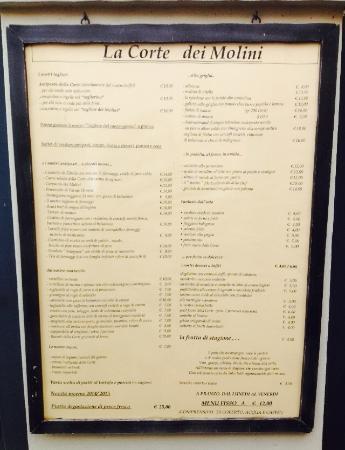 Castel Maggiore, Italien: Menù