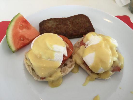 The Waves Restaurant: Eggs casino with REAL holiday sauce and Canadian bacon