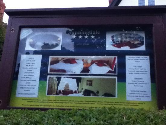 Sunningdale Guest House: BILLBOARD