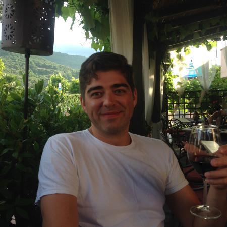 La Casa del Vino: My husband with a delicious Vermentino (night 2 of 4)