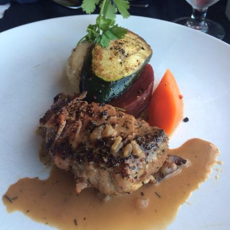 Cafe Dario : Bacon wrapped bison filet with pepper sauce.