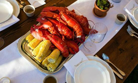 Foster's Clambakes & Catering: Maine lobster and sweet corn plated for a wedding