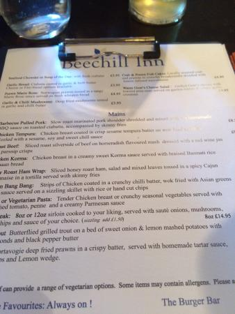 Beechill Inn: Menu  run down