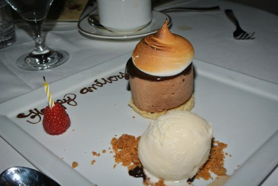 """Bernards Inn: The S'Mores Desert! Note the """"Happy Anniversary"""" in Chocolate! (Sorry I blew out the candle!)"""
