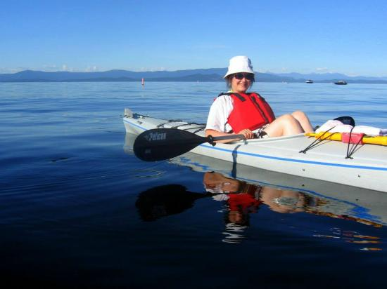 At Nautica Tigh Bed & Breakfast: Your Hostess, Karen, kayaking at Qualicum Beach.