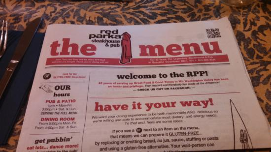 The Red Parka Steakhouse & Pub: The Red Parka menu was printed like a news paper. Many choices from apps to full dinner entres.
