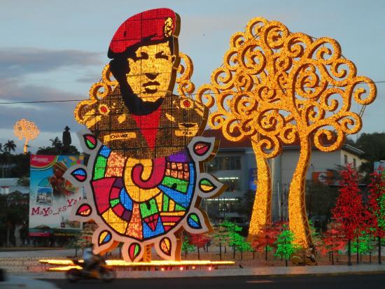Managua Department, Nicaragua: Hugo Chavez Electronic sculpture Managua