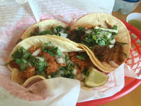 Taqueria: Set of Smoked Salmon Taco, Carnitas, and Barbacoa.  The Smoked Salmon taco was everything.