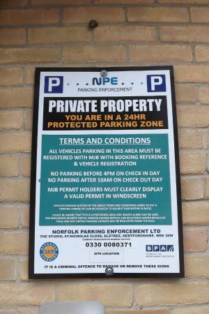 Parking notice - Picture of The Beeches Hotel, Norwich