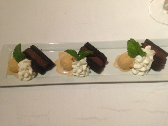 Chaya Brasserie: gateau au chocolat with salted caramel icecream and frangelico cream