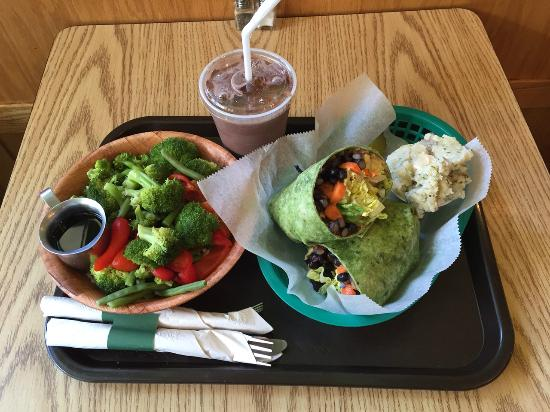 Eden A Vegan Cafe: Rice Bowl, Chocolate Smoothie and a Wrap