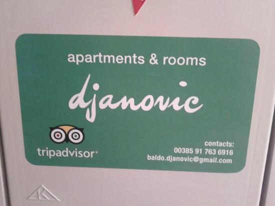 Apartments Djanovic: in front of Djanovic's door...