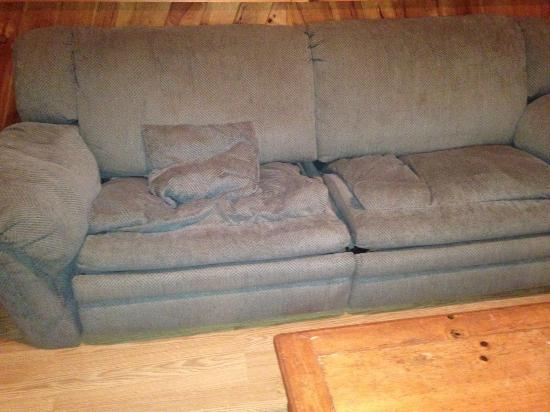 Hillbilly Haven Log Cabin Rentals: sofa in living room