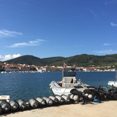 Croatia Divers Vela Luka: The boat parking where we load on the diving gear