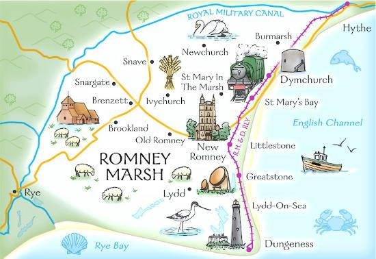 New Romney, UK: Map of Romney Marsh