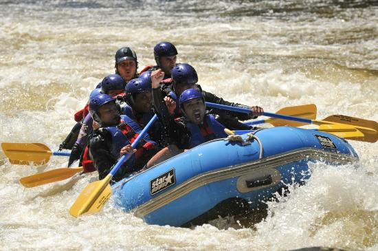 """Eau Vive Rafting: After a successful run through the """"Dryer"""""""