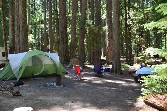Ohanapecosh Campground: with tent