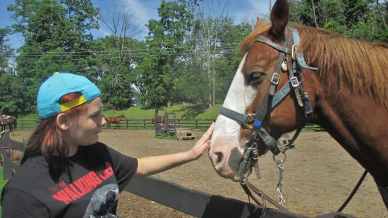 Pinegrove Family Dude Ranch: Getting friendly before the ride.