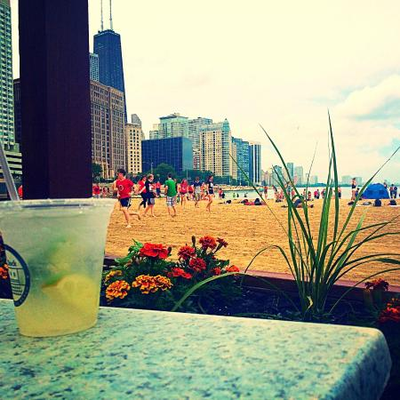 Ohio Street Beach: view of beach from cafe