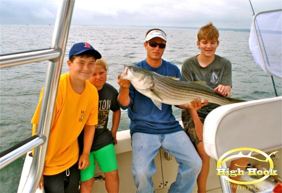 Striped bass picture of high hook charter fishing for Fishing charters plymouth ma