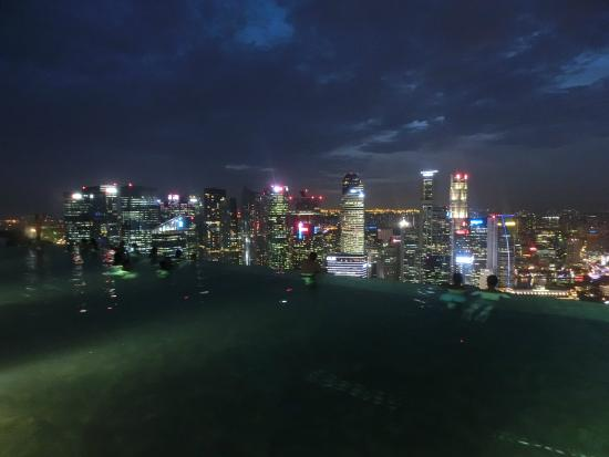 Night view of Singapore from the Infinity Pool of Marina Bay Sands