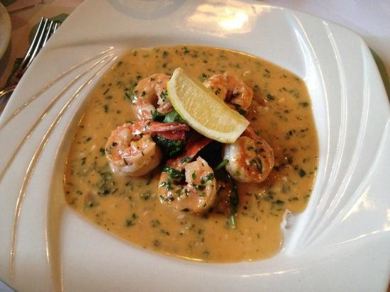 Menlo Park, Califórnia: Sauteed Prawns with garlic lemon sauce