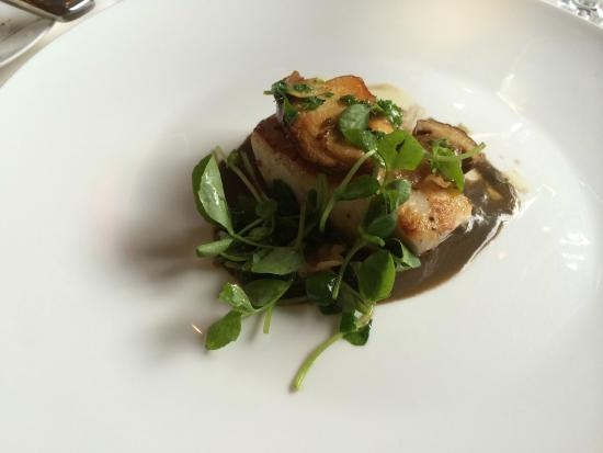 The Grill Room: pan roasted strioed bass, ginger, guanciale, porcini