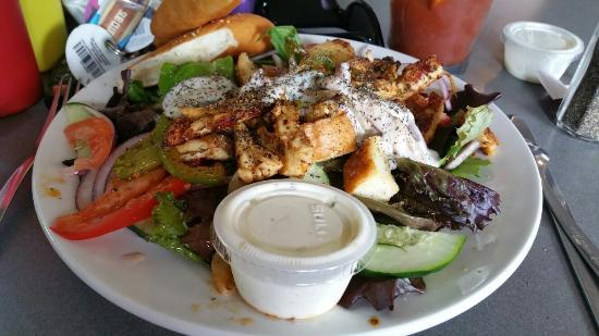 Waukesha, WI: Cajun Chicken salad and Absolut Bloody Mary