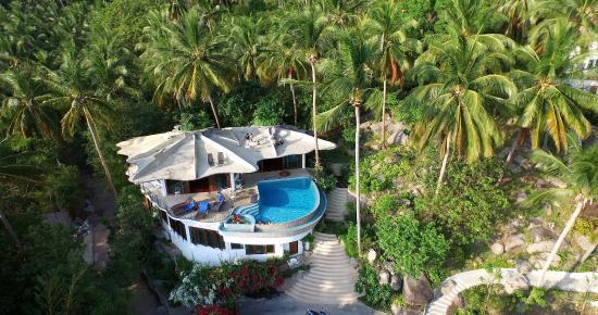 "Monkey Flower Villas: The ""Upper"" villa from the sky above!"