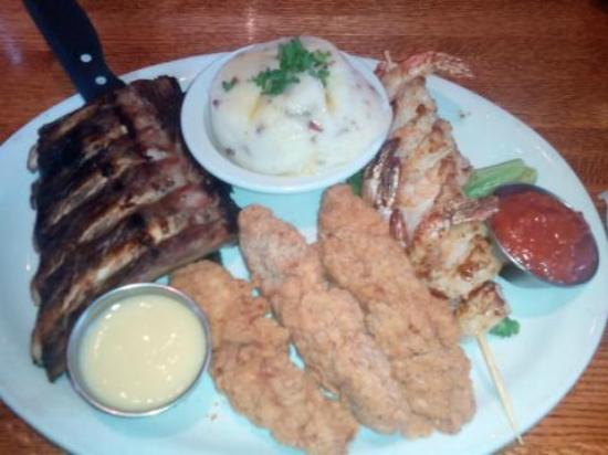 Glory Days Grill: Triple Play with Grilled Shrimp and Mashed Potatoes