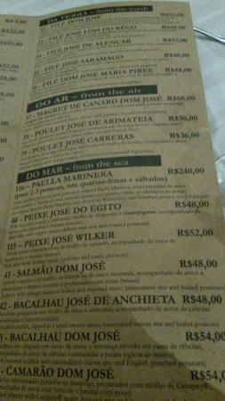 Cardapio Agosto 2014 Foto De Restaurante Dom Jose Joao Pessoa