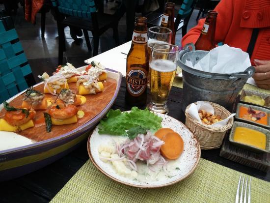 Ceviche De Chiita Y Balsas Con Causas Acompañado Con Cerveza Cristal Picture Of La Mar Lima Tripadvisor
