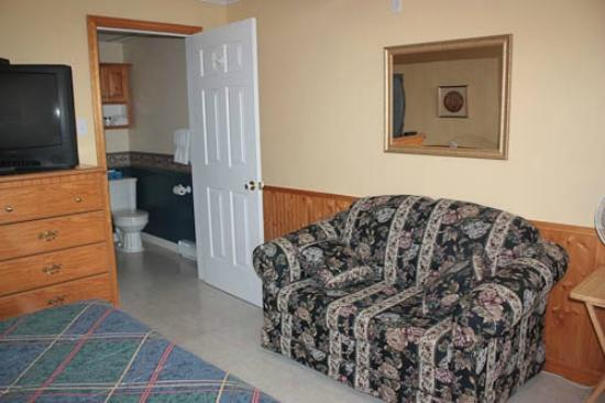 Cheticamp Outfitters Inn B & B: Sofa and bath in our room