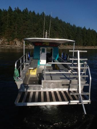 Nanaimo Dive Outfitters: The back deck and ladder on the Shepherd
