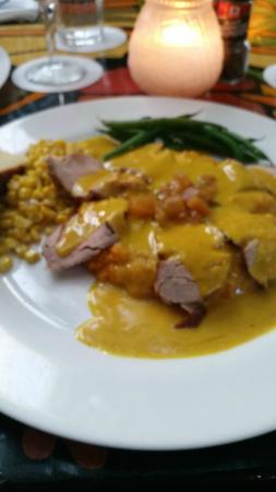 Blue Heaven: PORK TENDERLOIN gf Seared and sliced with sweet potato, mango chutney, and curry butter sauce