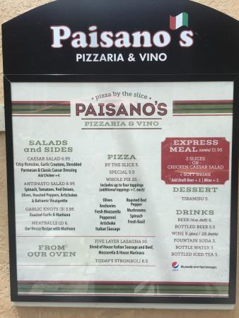 Paisano S Pizzaria Vino Menu