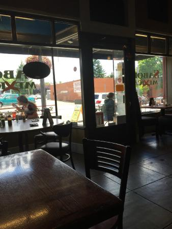 Sabor Mexicano: Looking out the front window onto Main St