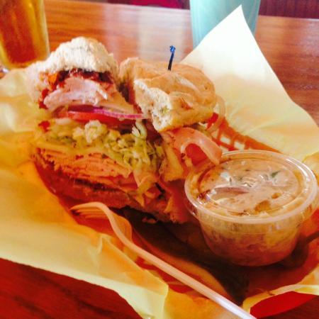 Big Belly Deli: Turkey Avo Sandwich on Focaccia Bread, huge and delicious!