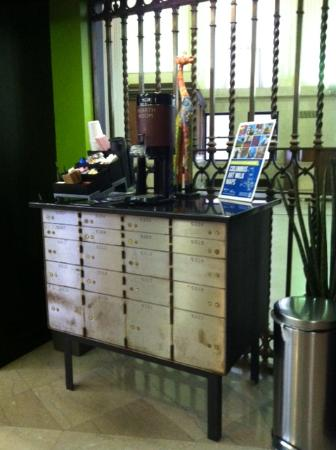 Clever repurposing of the safe deposit boxes!